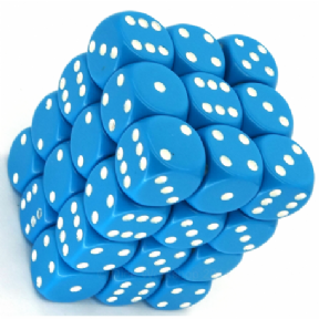 Light Blue & White Opaque 12mm D6 Dice Block